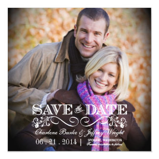 Save the Date Rustic Wedding Square Magnetic Photo Magnetic Invitations