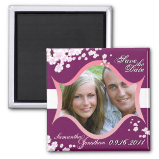 Save the Date Sangria White Cherry Blossoms Magnet
