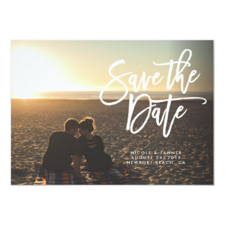 Save the Date script, horizontal, landscape Card
