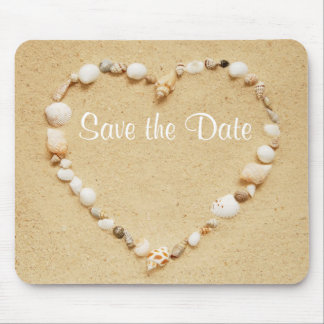 Save the Date Seashell Heart Mousepad