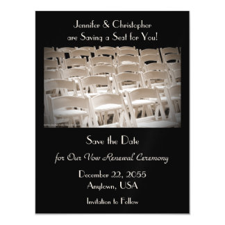 Save the Date Sepia Vow Renewal Chairs Magnet Magnetic Invitations