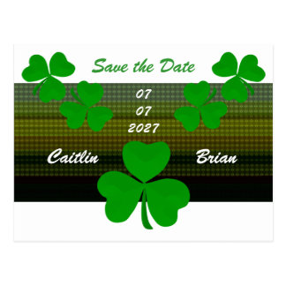 Save The Date Shamrocks Irish Postcard