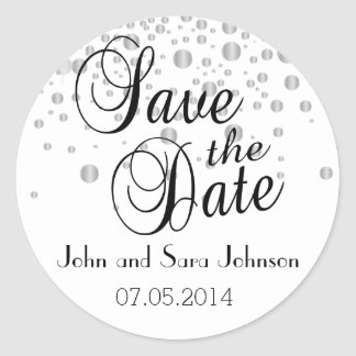 Save the Date | Silver Dots| Personalize Classic Round Sticker