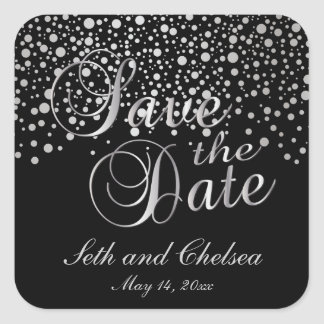Save the Date Silver Dots | Personalize Square Sticker
