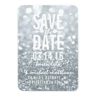 Save the Date | Silver Lit Glitter Fab 9 Cm X 13 Cm Invitation Card