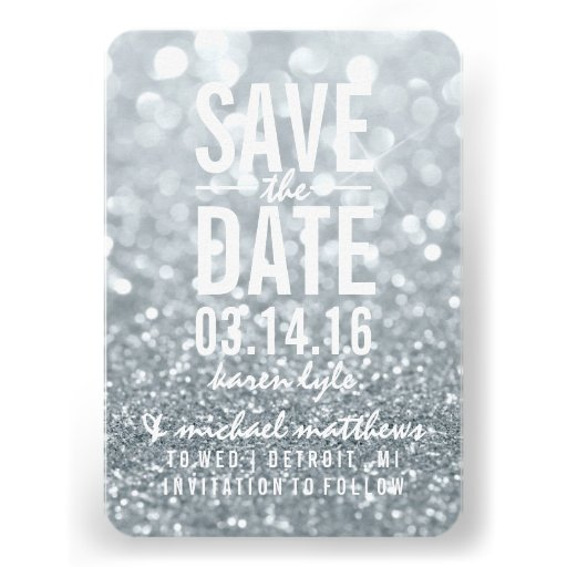 Save the Date | Silver Lit Glitter Fab Custom Announcement