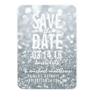 Save the Date | Silver Lit Glitter Fab 3.5x5 Paper Invitation Card