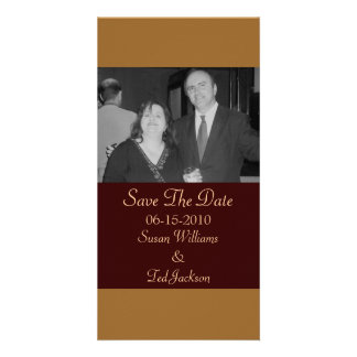 Save the Date simple brown Picture Card