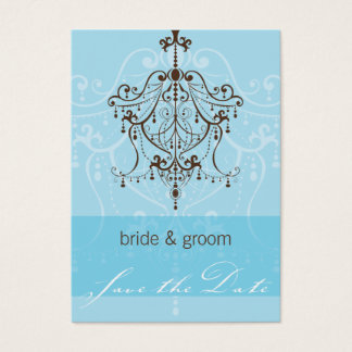 SAVE THE DATE SMALL :: chandelier Business Card