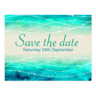 Save the date sparkling seas wedding postcard