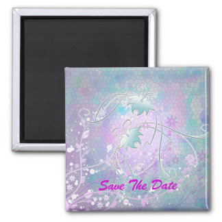 Save The Date Stained glass butterflies Magnet