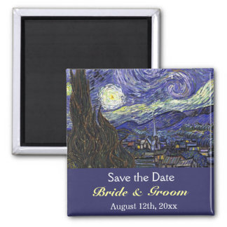 Save the date, Starry Night Square Magnet