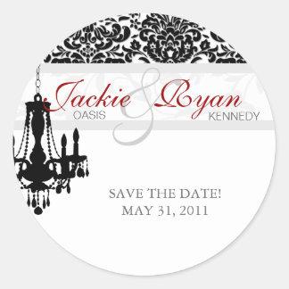 Save the Date Sticker Chandelier BW Damask