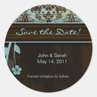 Save the Date Sticker Damask Flower blue brown