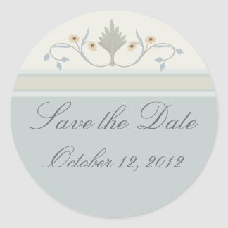 Save The Date Sticker in Muted Greens