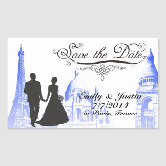 SAVE THE DATE STICKER WITH VIEW OF PARIS, FRANCE