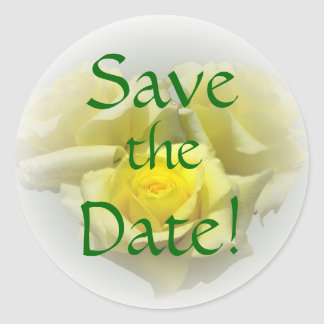 Save the Date Sticker, Yellow Rose Round Sticker