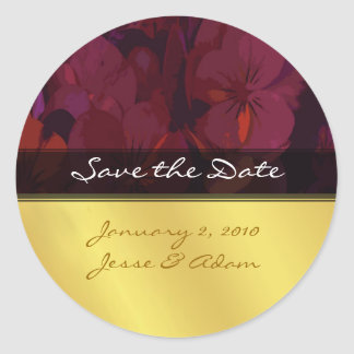 Save the date stickers crimson pansies