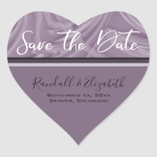 """""""Save the Date"""" Stylish Shades of Purple Strokes Heart Sticker"""