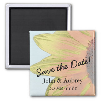 Save the Date Sunflower Floral Photograph Magnet