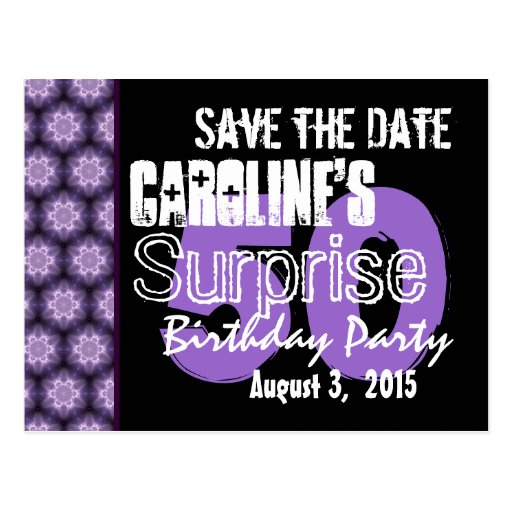 Save the Date Surprise 50th Modern Purple Black 04 Post Cards