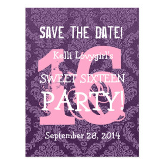 Save the Date Sweet 16 Birthday Party A04 PURPLE Postcard