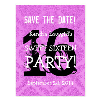 Save the Date Sweet 16 Birthday Party A06 PURPLE Post Card