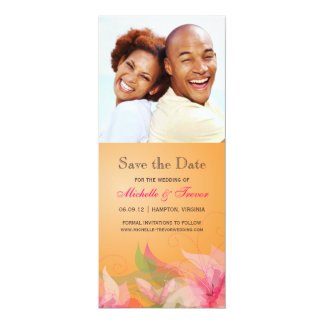 Save the Date - Tangerine Fuschia Floral Photo Personalized Invites