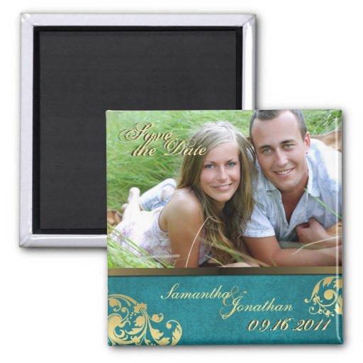 Save the Date Teal & Gold Shimmer Floral Magnet