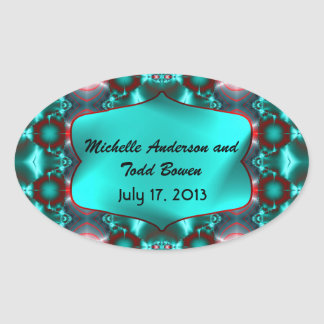 Save the Date Teal Red Abstract Design Oval Sticker
