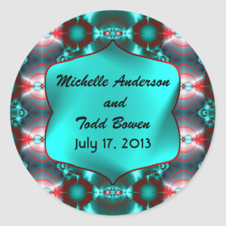 Save the Date Teal Red Abstract Design Round Sticker
