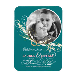 Save the Date - Teal Wedding Photo Magnets