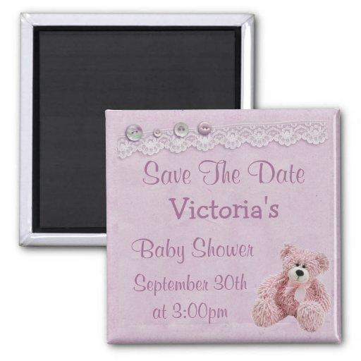 Save the Date Teddy Bear Baby Girl Shower Fridge Magnet