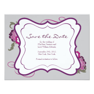 Save the Date // The Plum Bouquet Collection 11 Cm X 14 Cm Invitation Card