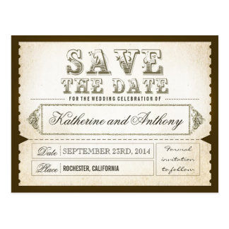 save the date tickets - postcards