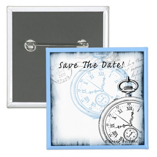 Save the Date Timepiece Pocketwatch Design 15 Cm Square Badge