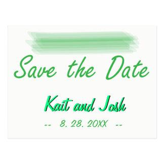 Save the Date Trendy Minimalist Elegant Green Postcard