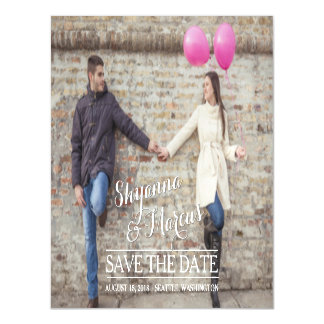 Save the Date Trendy Typography Photo Template Magnetic Invitations