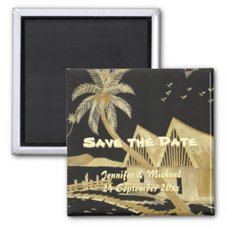 Save the Date Tropical Destination Wedding Square Magnet