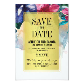 Save The Date | Tropical Watercolor Flowers Card