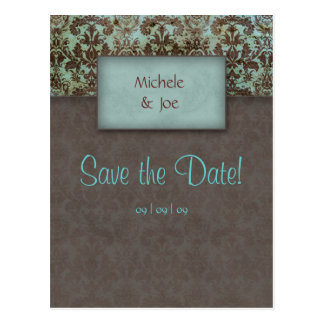 Save the Date Turquoise Brown Damask Postcard 2