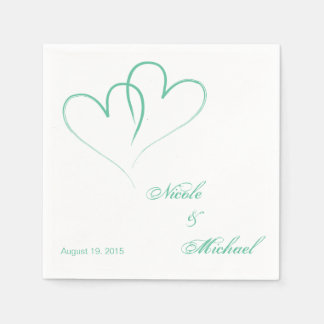 Save The Date - Two hearts intertwined Mint Disposable Serviette