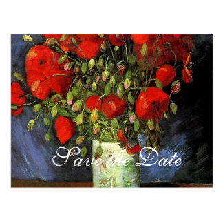 Save the Date, Vincent van Gogh,red poppies Postcard