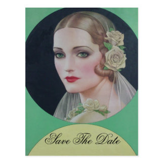 Save the Date Vintage Bride Postcard