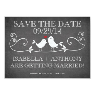 SAVE THE DATE Vintage Chalkboard Love Birds 11 Cm X 16 Cm Invitation Card