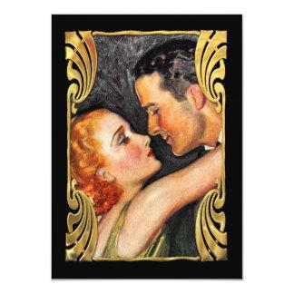 Save the Date Vintage Couple Black 4.5x6.25 Paper Invitation Card
