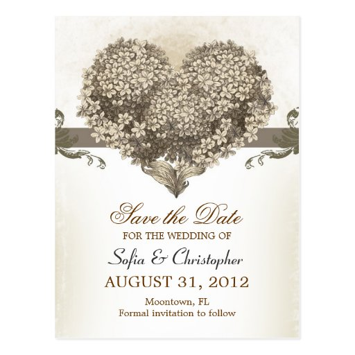 save the date vintage floral hearts postcards