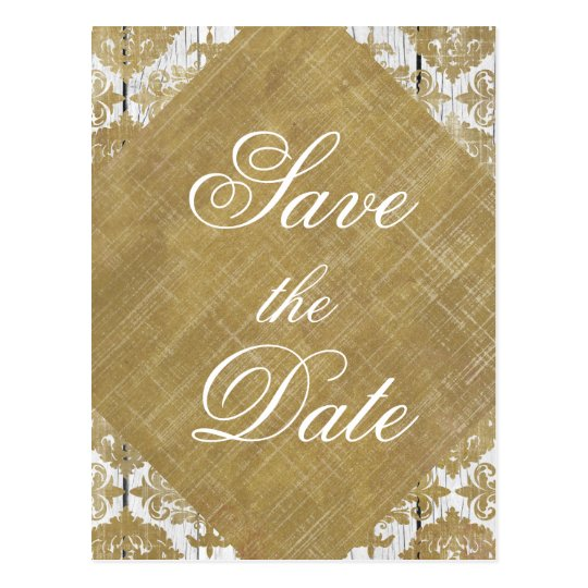 Save the Date Vintage Gold Damask and Wood Postcard
