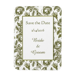Save the Date Vintage Gold White Roses Magnet