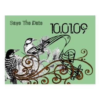 Save the Date- Vintage Love Birds Postcard